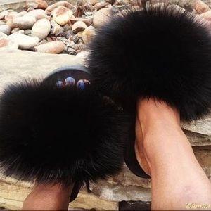 Shoes - REAL Fur Slides 🖤